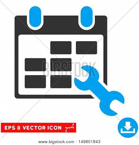 Blue And Gray Configure Timetable EPS vector pictograph. Illustration style is flat iconic bicolor symbol on a white background.