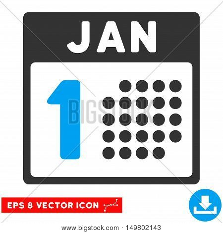 Blue And Gray January First EPS vector pictogram. Illustration style is flat iconic bicolor symbol on a white background.