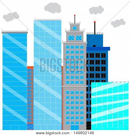 Business district with glass skyscrapers. Financial district and office building cityscape skyscraper street. Vector illustration