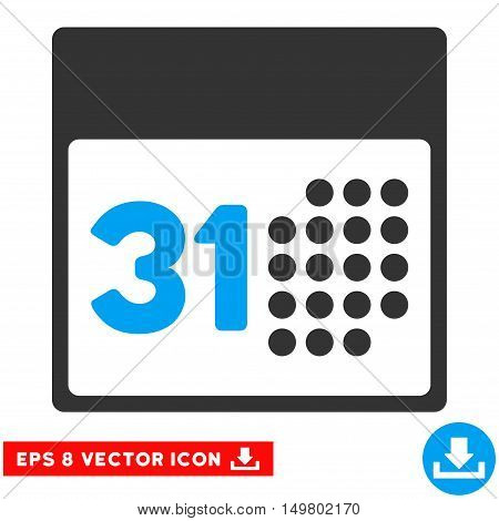 Blue And Gray Last Month Day EPS vector icon. Illustration style is flat iconic bicolor symbol on a white background.