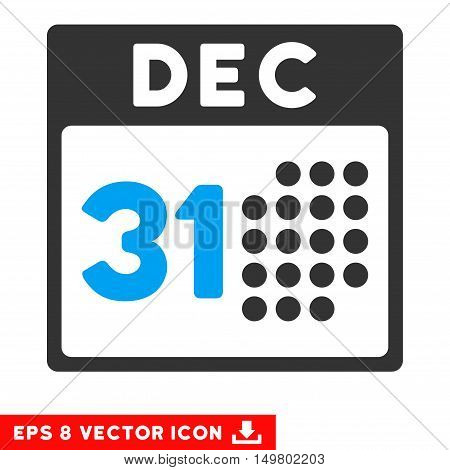 Blue And Gray Last Year Day EPS vector pictogram. Illustration style is flat iconic bicolor symbol on a white background.