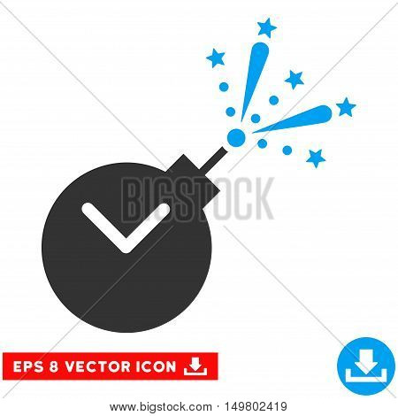 Blue And Gray Time Fireworks Charge EPS vector icon. Illustration style is flat iconic bicolor symbol on a white background.