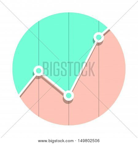 Statistics market graph icon flat style. Statistics graph and infographics statistic logo. Vector illustration