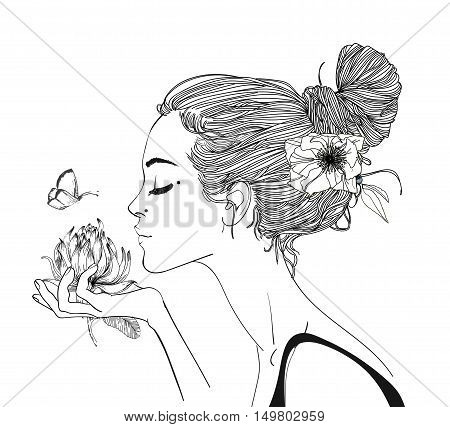 portrait of young beautiful woman wirh flowers