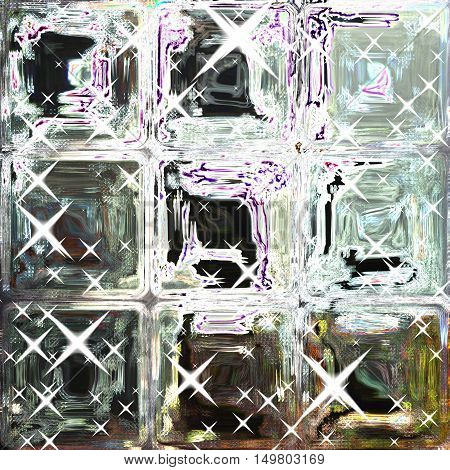 Geometrical nine crystal window tiles with sparkling stars