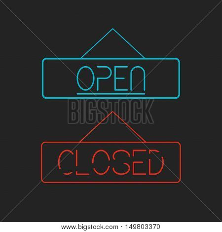 Open and Closed neon signboards. For cafe, shop, restaurant. Vector illustration