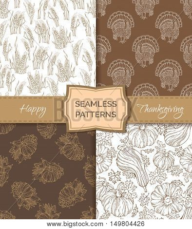 Vector Set Of Sepia Seamless Thanksgiving Patterns.