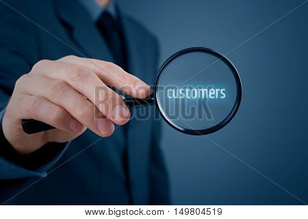 Customers oriented marketing concept. Market segmentation concept. Successful businessman is focused on customers.