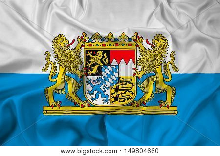 Waving Flag Of Bavaria With Coat Of Arms, Germany