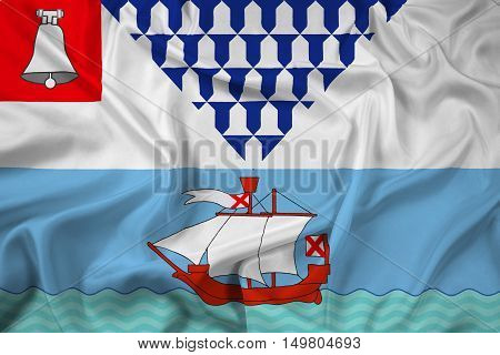 Waving Flag Of Belfast, Northern Ireland, Uk