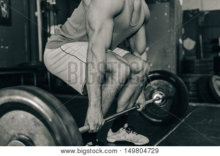 Weightlifting training, black and white , close up