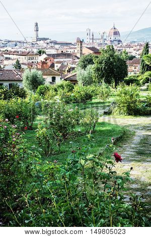 View from Giardino delle Rose to the city of Florence. Tuscany Italy. Travelling scene. Beautiful place. Vertical composition. Cradle of the renaissance. Cultural heritage.