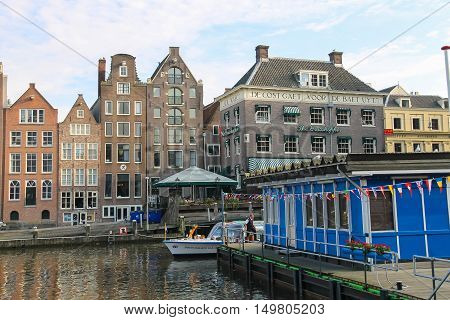 Amsterdam the Netherlands - October 03 2015: Water canal in historic part of Amsterdam