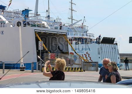 Piombino Italy - June 30 2015: Ferry boats Moby Baby and Moby Love at berth in the seaport