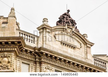 The building of National Bank in Budapest Hungary. Architectural element. Artistic architecture. Cultural heritage.