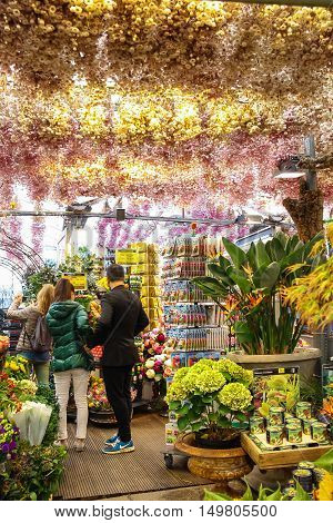 Amsterdam the Netherlands - October 03 2015: People inside a flower shop in the city center