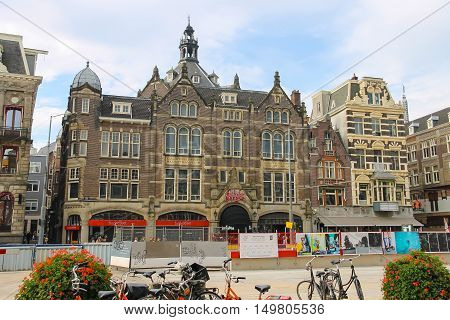 Amsterdam the Netherlands - October 03 2015: Old style building in historic city centre