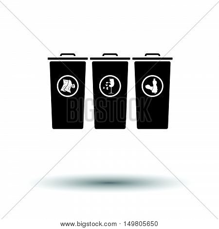 Garbage Containers With Separated Trash Icon