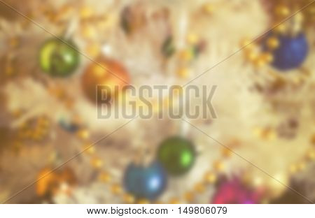 Christmas decorations on artificial fir xmass blur background vintage effect