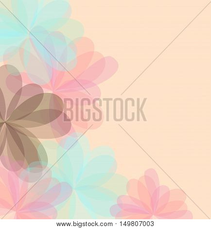 Background of stylized flowers for greeting cards. Stock vector illustration