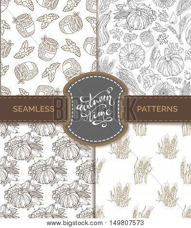 Vector Set Of Seamless Sketch Autumn Patterns.