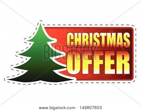 christmas offer - text and christmas tree sign on red banner with snowflakes, business holiday concept, vector