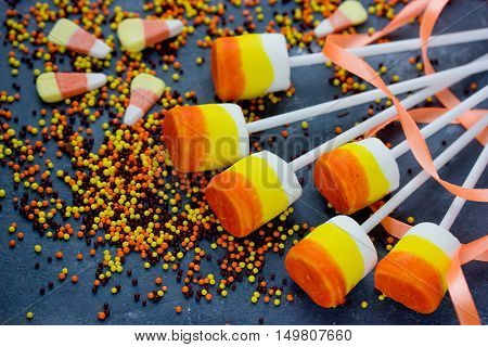 Candy corn marshmallow pops - treat on Halloween party and Thanksgiving Day