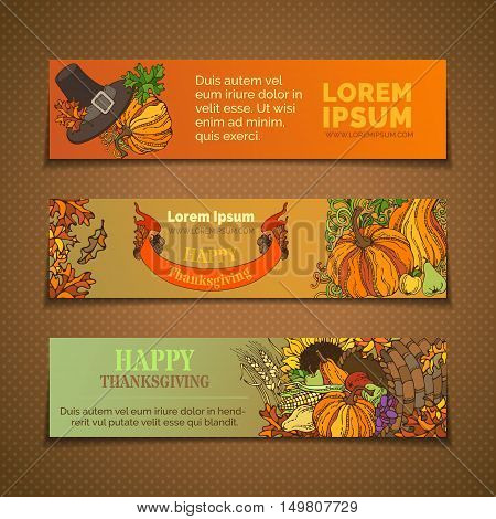 Vector Set Of Thanksgiving Horizontal Banners.