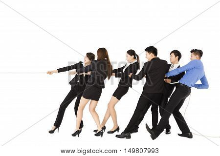 business people playing tug of war isolated
