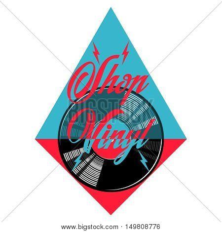 Color vintage music shop emblem. For Music shop, recording studio, karaoke club. Design elements isolated on white background