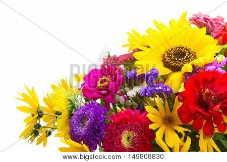 Bright fall bouquet isolated on white background