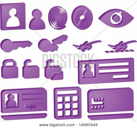 Security icon button illustration set, 3d style look