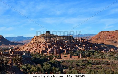 Famous Ait Benhaddou Casbah near Ouarzazate city in Morocco.