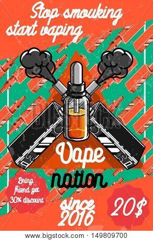 Color vintage vape, e-cigarette poster. Vector illustration, EPS 10