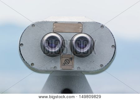 Coin Operated Binocular Viewer Looking Out To Landscape With Beautiful Nature.