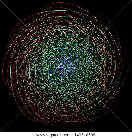 Neon chaotic interweaving lines. Abstract neon ball of yarn.
