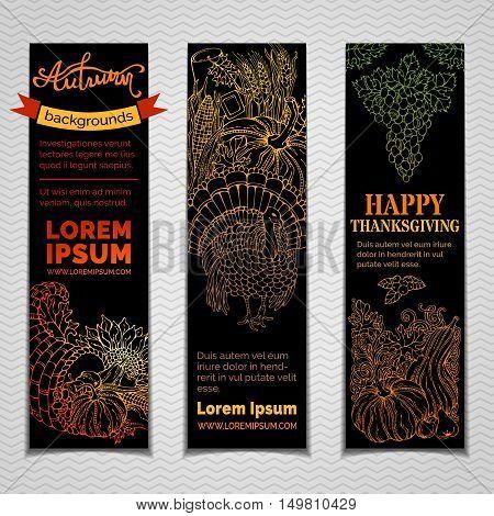 Vector Set Of Dark Thanksgiving Vertical Banners.