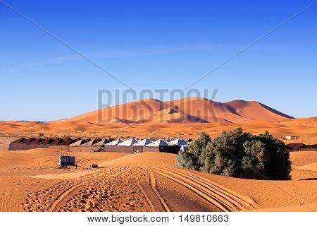 Camp site over sand dunes in Merzouga Sahara desert, Morocco, Africa