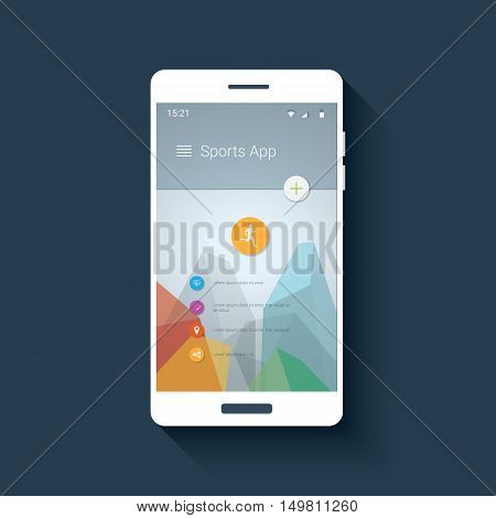 Fitness tracker smartphone app mobile ui. Graphic user interface for smart phones with sports icon collection. Eps10 vector illustration