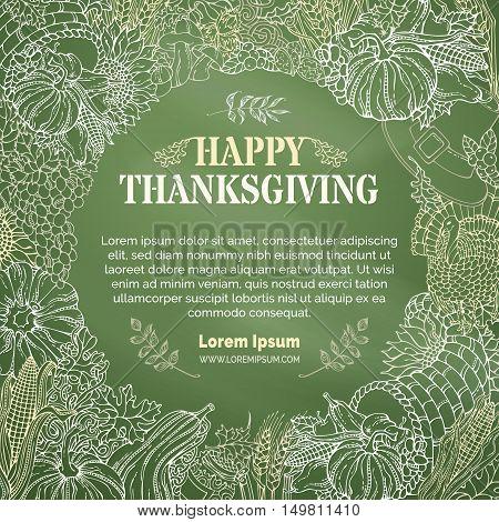 Vector Chalk Thanksgiving Background.