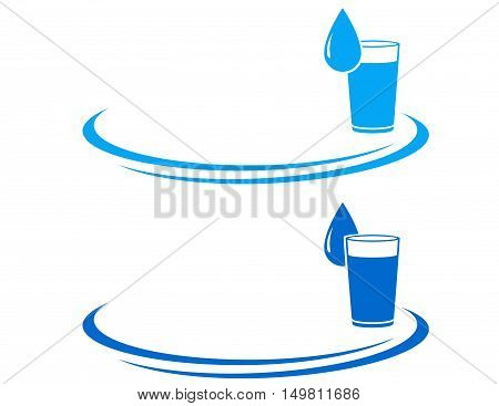 Water Glass Icon With Drop
