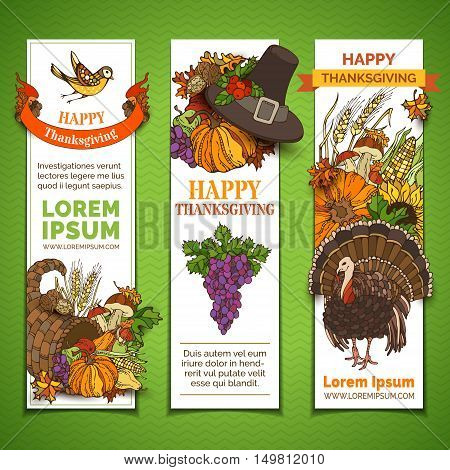 Vector Set Of Thanksgiving Vertical Banners.