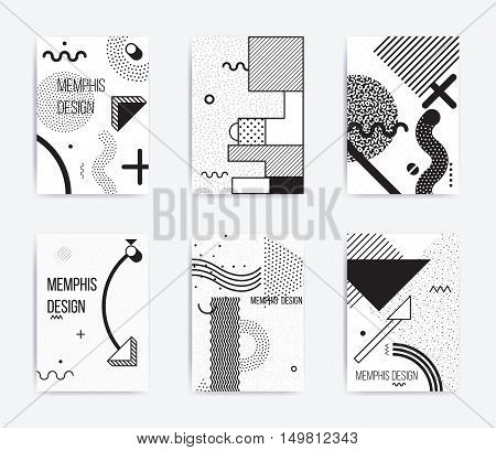 black and white trend Neo Memphis geometric poster set juxtaposed with bold blocks of zig zags, squiggles, erratic images. Design background elements composition. Magazine, leaflet, billboard