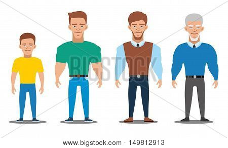 Cartoon characters showing age progress. All age group of european man. People Generations at different ages. Teenager, young, adult, old. Flat illustration
