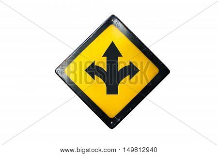 T-junction sign is isolated on white background
