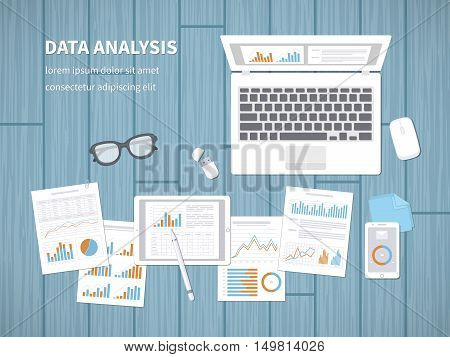 Data analysis concept. Financial Audit, SEO analytics, statistics, strategic, report, management. Charts, graphics on a laptop, tablet, smartphone, documents. View from above. Vector illustration.