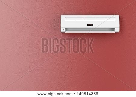 Split-system air conditioner on red wall, 3D illustration