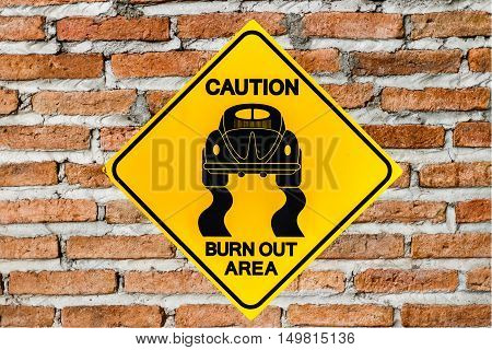 Roadsign race on brick wall or brown background