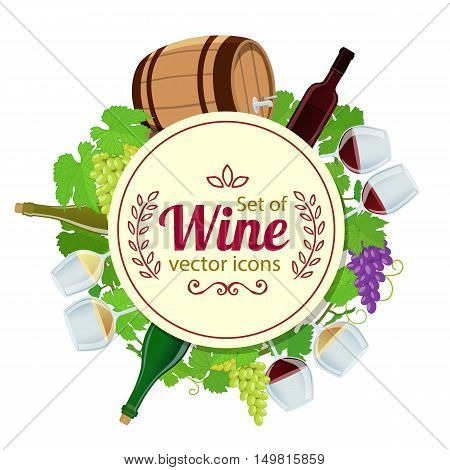 Circle shape template with wine icons for packaging cards posters menu. Vector stock illustration.