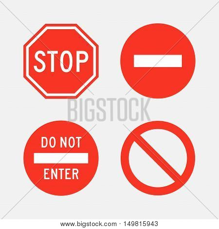 Stop and do not enter signs vector set of isolated from the background. Icons of street and road signs in flat style.